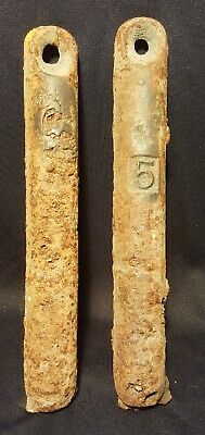 """Lot of 2 Vintage Cast Iron Window Weights 5 Pounds Each 11-1/2"""" L X 1-1/2"""" Dia."""