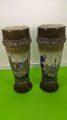 2 PCS KING Pottery Hand Made Hand Painted AUSTRIA VASE 9'' inches