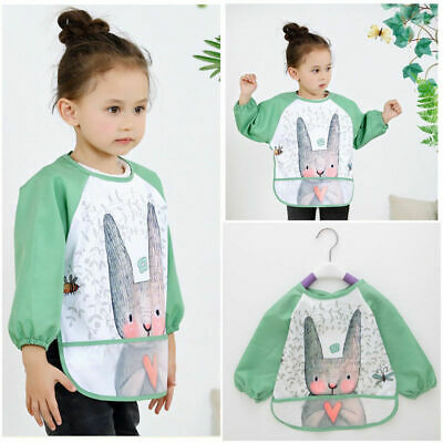 Baby Long Sleeve Feeding Bib Waterproof Coverall Art Craft Paint Play Apron