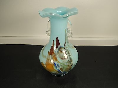 Vintage Art Glass Light Blu Mix Color Murano Murrine Vase