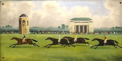 Large 19th Century English Doncaster Cup 1838 Horse Racing Scene Antique Oil