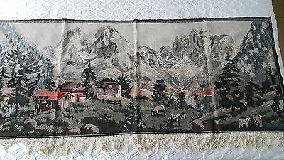 vtg.WALL HANGING TAPESTRY EMBROIDERY trees hous cows