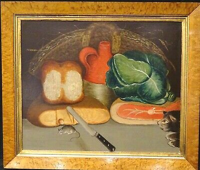 Fine 18th 19th Century English Naive School Kitchen Food Cat & Mouse Still Life
