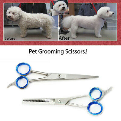 "6.5"" Professional Pet Dog Cat Hair Cutting Thinning Grooming Scissors Shears Set"