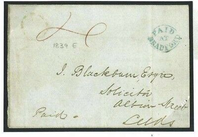 A72a Great Britain Cover 1839 Paid at Bradford Yorks Distinctive Oval Blue/Leeds