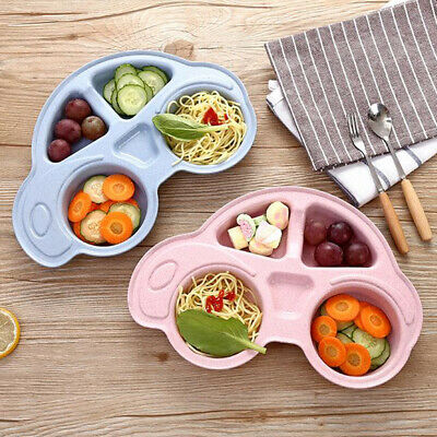 UK Kids Dinner Plate Divided Dish Tray Dessert Baby Food Feeding Tableware
