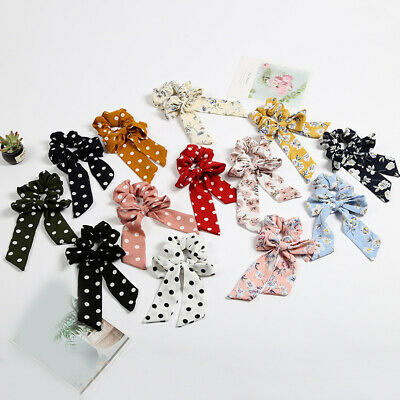 Women Girls Elastic Ribbon Bow Hair Band Rope Ponytail Holder Headwear Accessory
