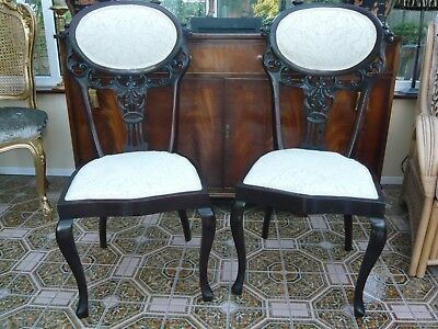 Pair of mahogany antique dining room chairs