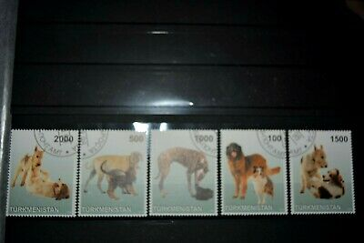 5 Philatelic Stamps, Turkmenistan, Dogs, 1998  _____________________