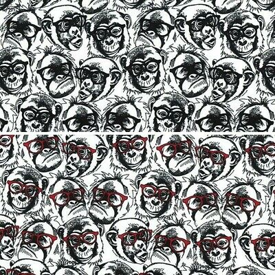 100% Cotton Poplin Fabric Rose & Hubble Spectacled Monkeys Glasses Chimpanzies