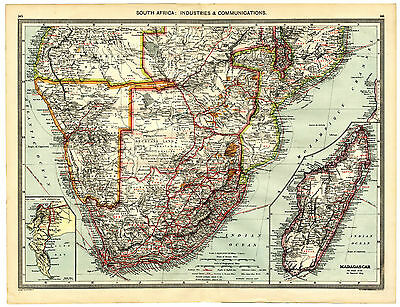1907 Antique Map SOUTH AFRICA MADAGASCAR Cape Peninsula INDUSTRY Diamonds etc
