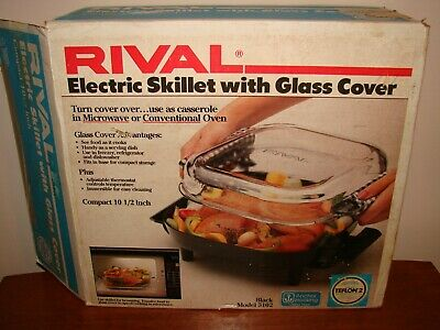 VTG Rival 5102 Electric Skillet w/ Anchor Hocking Glass Cover-Fry,Roast-Teflon 2
