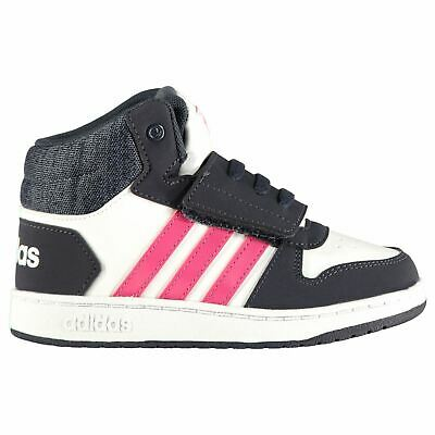 adidas Hoops Mid Infants Trainers Girls White/Pink/Navy Shoes Footwear