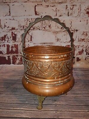 Antique Old French Copper Plant Pot Bucket Cauldron Brass Feet Ornate Planter