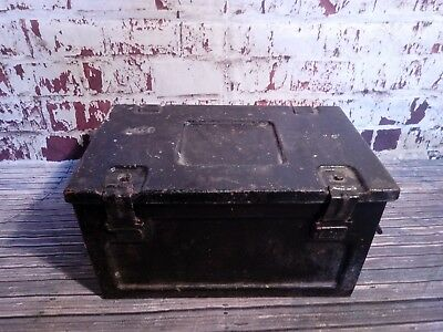 1956 Vintage Industrial Metal Ammunition Medical Military Trunk Toy Box Storage