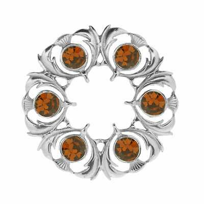Art Pewter Thistle Dancers Plaid Brooch with Cairngorm Stone 250 (CIT)