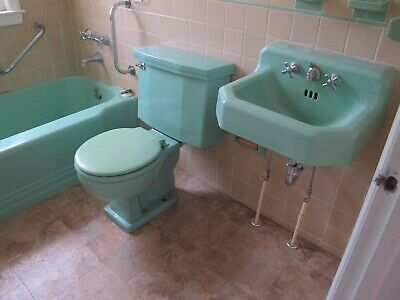Vtg Deco Mint Green American Standard Sink Toilet Tub Local Pick Up Removal