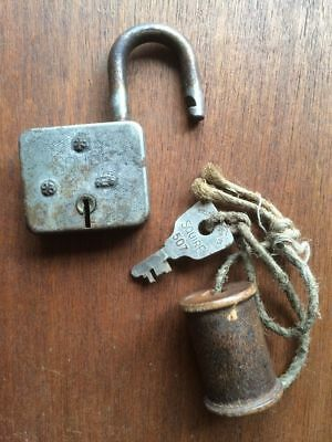 Padlock & Key H.Y Squire & Sons Square Lock No.507 Vintage Made in England