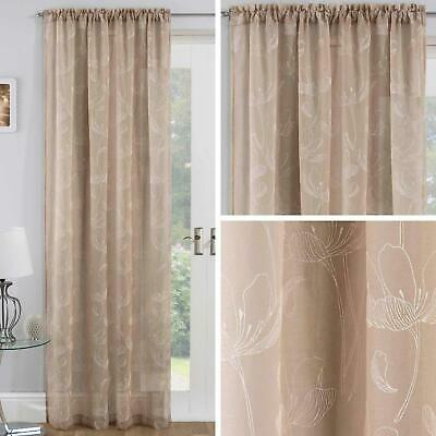 Beige Voile Curtain Panels Natural Freya Floral Slot Top Sheer Rod Pocket Voiles