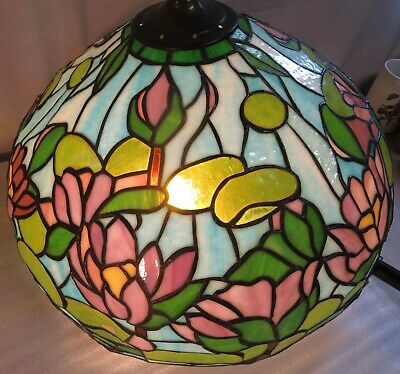 """Gorgeous Antique Tiffany Style Leaded Stained Glass Lamp Shade-20"""" Diameter"""