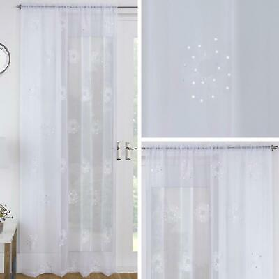 White Voile Curtain Nova Sequins Silver Panel Ready Made Rod Slot Top Curtains
