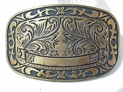 Country Western Etched Fancy Unisex Belt Buckle Vintage Brass Plated Mid Century