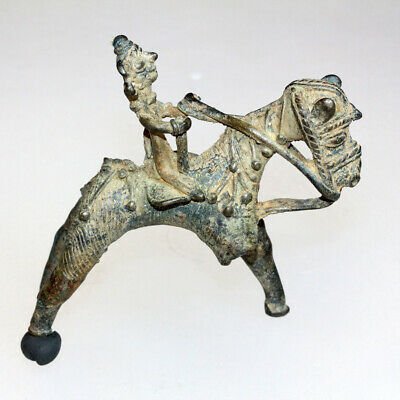 A Very Rare Ancient Or Medieval India Bronze Statue Horseman