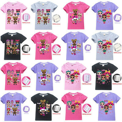 Hot Girls Short Sleeve LOL Surprise Dolls Game Kids T-shirt Tops Party Clothes