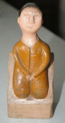 Neat Antique Carved Whimsical figure, sliding door opens & reveals hind end
