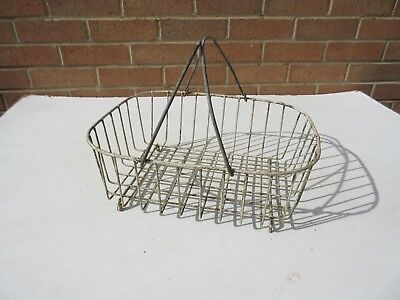 Vintage weathered plastic coated metal wire shopping basket garden planter