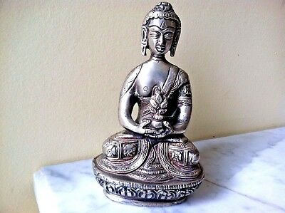 Antique Chinese Bronze Silver Plated Buddha Statue Figurin