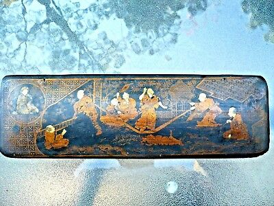 Beautiful Antique Chinese Or Japanese Painted Gold On Lacquer Box Very Rare