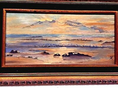 "Beautiful Antique Original  Oil On Canvas Seascape Painting Framed Signed ""Sa"""