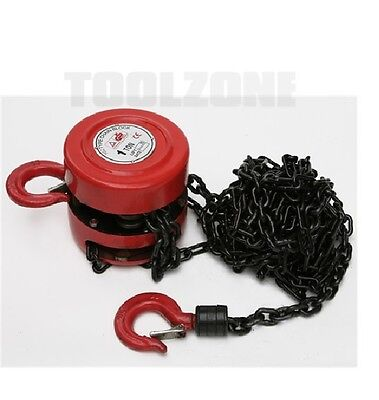 Toolzone 1 Ton Chain Block & Tackle Engine Lifting Hoist Pulley Winch