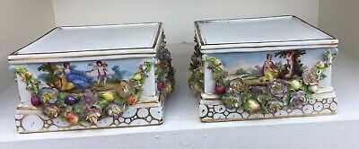 A Superb Pair Of Antique German Porcelain Urn Or Figurine Stands Cupid & Flowers