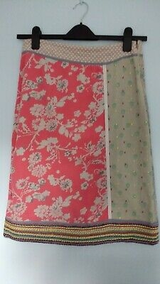 cf5213f295 WHITE STUFF size 8 pink grey beige floral linen cotton mix lined A-line  skirt