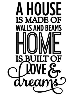 A house is made of walls and beams home is built Wine Bottle Vinyl Sticke