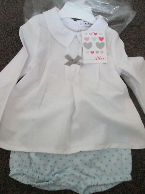 NEW baby Unisex ALBER Spanish 2 Piece Suit/ Set blue & White Size 24 Mths