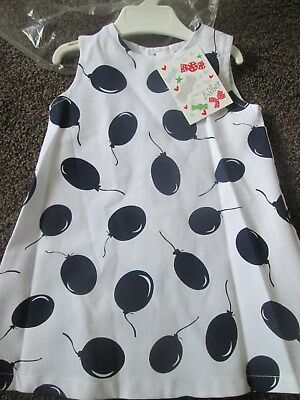 NEW baby Girls ALBER Spanish Dress White & Navy Balloons Size 18 Mths