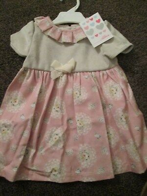 NEW baby Girls ALBER Spanish Dress Pleated Collar Cream & Pink Size 24 Mths