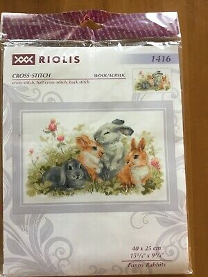 "Riolis Funny Rabbits Counted Cross Stitch Kit NEW High Quality 15.75/"" x 9.75/"""
