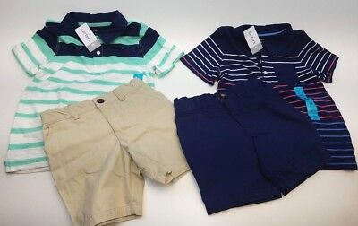 Carters 2 Pc. 4T Toddler Boys Navy Striped Polo & Solid Short Lot of 2 = 4 Pcs
