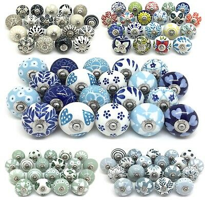 SETS OF 20 CERAMIC KNOBS Drawer Pulls Cupboard Handles Door Vintage Shabby Chic