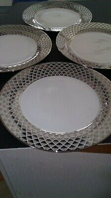 "Ciroa Luxe Porcelain Dinner Plates with Metallic  Lattice Rim 10.5""D Set of 4"