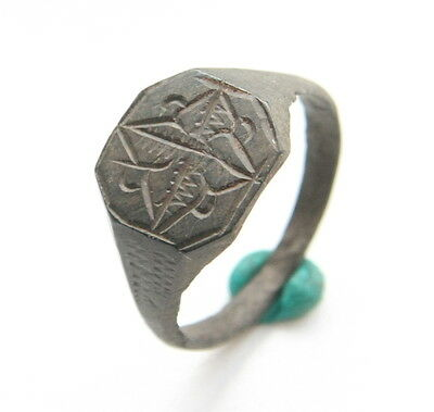 Ancient Old Bronze Floral Type Finger Ring (ARL)