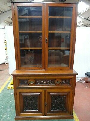 Antique Edwardian Secretaire Book Case, Writing Desk Carved Inlay. Tlc Required.