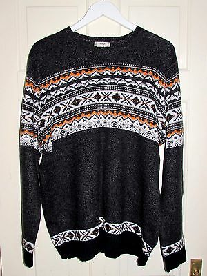 Quality Vintage Retro Style George Knitted Patterned Twisted Yarn Jumper