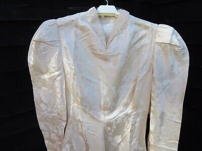 "1940s cream damask full length fit & flare wedding dress small bodice 36"" bust"