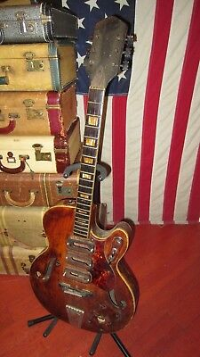 Vintage 1960s Harmony 1429 Hollowbody Triple Pickup Electric Guitar PROJECT