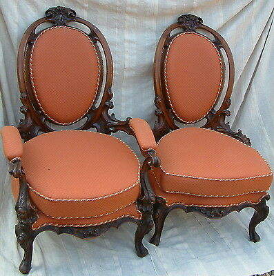 Ornate Victorian Ladies & Gentlemans Upholstered Chairs